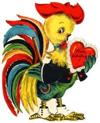 rooster with a valentine